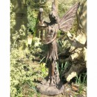 Fairy Garden Sculpture Holding a Metal Candle Lantern