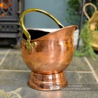 Copper Coal Bucket with a Brass Handle