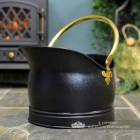Black Iron Coal Bucket with Polished Brass Handles
