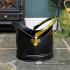 Side View of the Black & Polished Brass Coal Bucket
