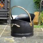 Black & Nickel Coal Bucket by the Fireplace