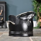 Victorian Style Coal Bucket Finished in Black Iron and Nickle