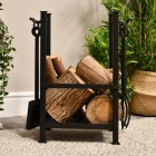 """Erik Nordic"" Log Basket with Fireplace Tools Finished in Black"
