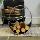 """Evington"" Stainless Steel Curved Log Basket Holding Logs"