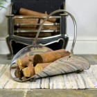 """Evington"" Stainless Steel Curved Log Basket"