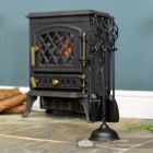 """Black """"Kingfisher"""" Companion Set in Situ Next to the Fireplace"""