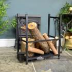 Log Basket with Fireside Tools in Situ