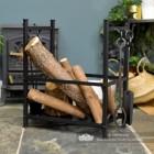 Black Fireside Log Basket with Fireside Tools