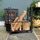 Log Basket with Fireside Tools in Situ by the Fireplace