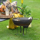 Traditional Handmade Iron Kadai Fire Bowl Being USed to Cook Food