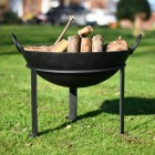 Kadai Fire bowl with wrought iron stand