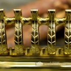 Close-up of the Polished Brass Finish on the Fire Front