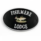 trout design cast iron house plaque