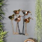 Five Wading Birds Wall Art in a Copper and Brass Finish