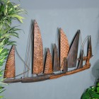 "View of the Side of the Leaf Style ""Fleet of Boats"" Wall Art Mounted on the Wall"