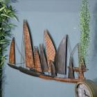 """Fleet of Boats"" Wall Art in a Leaf Design"