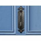 Vertical Fleur de Lys Cast Iron Door Knocker and Letter Plate