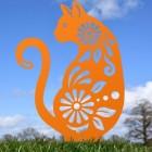 Floral Cat Silhouette in Orange