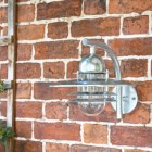 Galvanised Modern Overhanging Wall Light in Situ on a Brick Wall