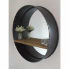Contemporary Natural Wood and Metal Wall Mirror