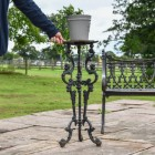 Long Gothic Aged Black Side Table
