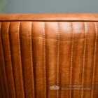 Genuine Brown Leather and Iron Bar Stool Close Up