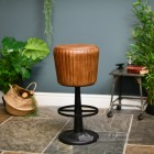 Genuine Brown Leather and Iron Interior Stool