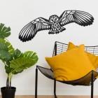 Black Geometric Barn Owl Wall Art in the Home