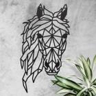 Geometric Horse Head Wall Art in Situ on a Rustic Wall
