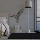 Geometric Steel Hummingbird Wall Art in Situ a Bedroom