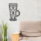 Geometric Steel Latte Glass Wall Art in Situ in the Sitting Room