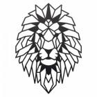 Geometric Lion Steel Wall Art in a Black Finish