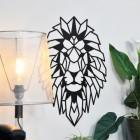 Geometric Lion Steel Wall Art in Situ on a  White Wall