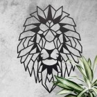 Geometric Lion Steel Wall Art on a Rustic Wall Next to Plants