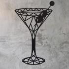 Geometric Steel Martini Glass Wall Art on a Rustic Wall