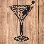 Geometric Steel Martini Glass Wall Art on a Wooden Wall
