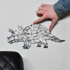 Geometric Natural Steel Triceratops Wall Art to Scale