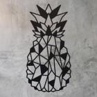 Geometric Steel Pineapple Wall Art in on a Rustic Wall