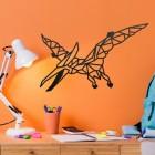 Geometric Iron Pterodactyl Wall Art on an Orange Wall