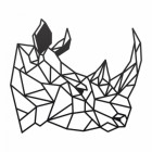 Geometric Rhino Steel Wall Art in a Black Finish