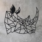 Geometric Rhino Steel Wall Art on a Rustic Wall
