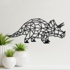 Geometric Iron Triceratops Wall Art in Situ on a Cream Wall