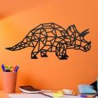 Geometric Iron Triceratops Wall Art on an Orange Wall