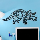 Geometric Iron Triceratops Wall Art in Situ in a Children's Play Room