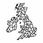United Kingdom Geometric Steel Map Art Finished in Black