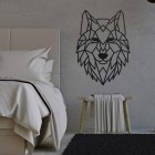 Geometric Iron Wolf Wall Art in Situ in a Bedroom