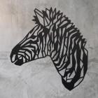 Geometric Zebra Head Wall Art on a Rustic Wall