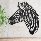 Geometric Zebra Head Wall Art on a Rustic Grey Wall