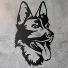 German Shepherd Metal Wall Art Silhouette on a Rustic Wall