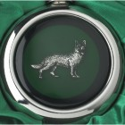 Close-up of the German Shepherd on the Whiskey Flask